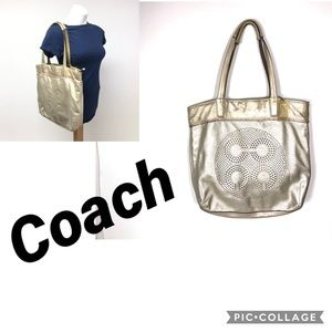 Coach 17041 metallic Audrey tote bag purse  logo